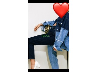 Pantalon bicolore jean taille haute