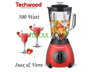 Blender inox techwood 500w خلاط زجاجي بسعة 1.5