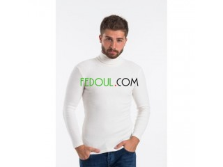 Pull colle roulé homme 95% coton 5% lycra soft made in Turquie