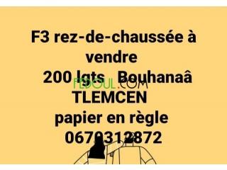 F3 rez-de-chaussée à vendre Tlemcen
