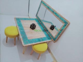 Table et miroir décoratif en résines cristal