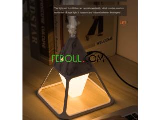 Lampe de nuit et humidificateur en forme de pyramide volcanique avec télécommande Annaba