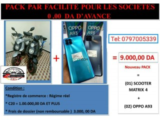 Vente par facilité crédit islamique des motos et des packs téléphones