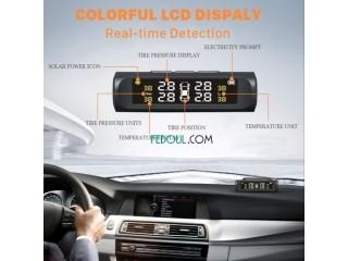 جهاز TPMS الذكي لمراقبة ضغط الهواء و درجة حرارة عجلات السيارة تلقائيا و آنيا صالح لجميع السيارات