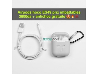 Airpods hoco es49 original prix imbattables 3800da + antichoc gratuit