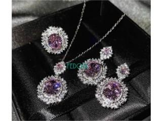 Ensemble de bijoux de luxe en cristal rose Zircon