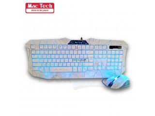 ماوس ولوحة المفاتيح الاحترافية استجابة سريعة مع أضواء خلفية ملونة لتجربة ألعاب مثيرة Mac Tech Backlight Gaming Keyboard & Mouse Combo
