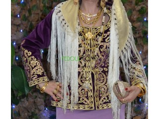 Gandoura constantinoise, robe blanche, 2 Karakou bois de rose et mauve