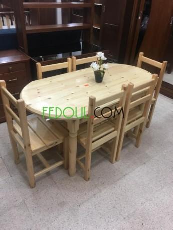 Table De Cuisine Ovale Bois Rouge 6 Chaises El Harrach