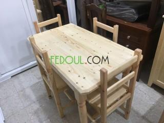 Table de cuisine 4 chaise bois rouge