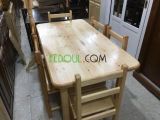 Table de cuisine 6 chaise bois rouge